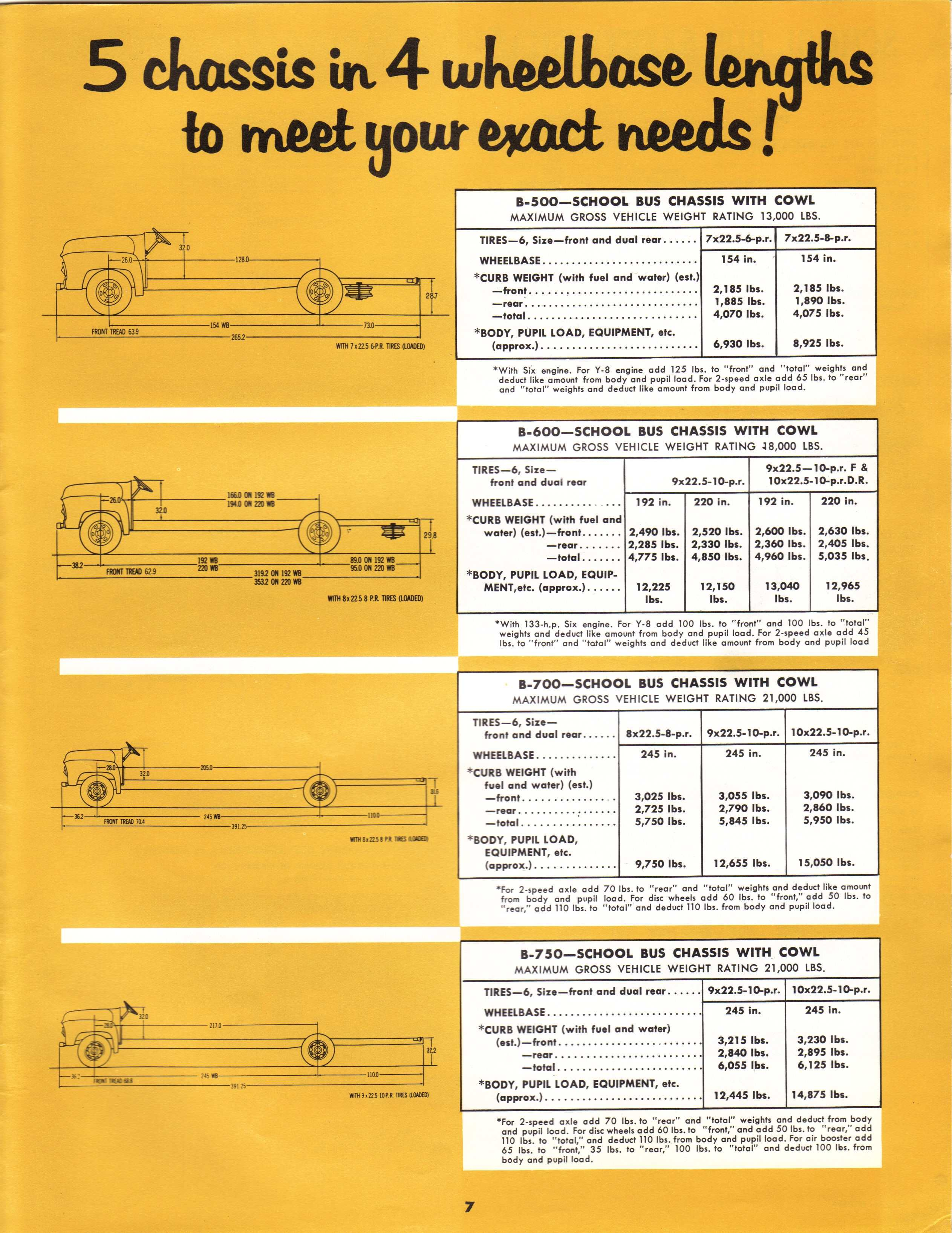 1956 Ford School Bus Chassis Brochure Pg 7 5 In 4 Wheelbase
